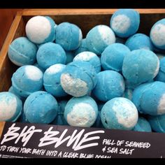 Lush's Big Blue bath bomb. My favourite!! Lavender is instantly relaxing on the body and mind, and lemon oil helps to keep you afloat. For a truly authentic experience, we've added in some of nature's finest ingredients – sea salt and seaweed. Packed with minerals, salt helps the body rid itself of toxins, while seaweed softens and soothes your skin. #LushCosmetics