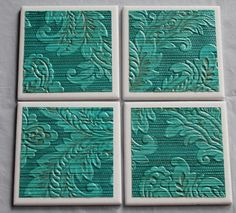 gorgeous vintage wallpaper on tile coasters....a whole new use