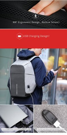Theft-Proof Backpack with USB Charger