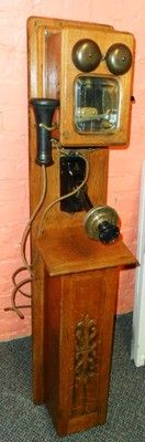RARE ANTIQUE Swedish American Telephone Co. oak wall phone + battery compartment | eBay