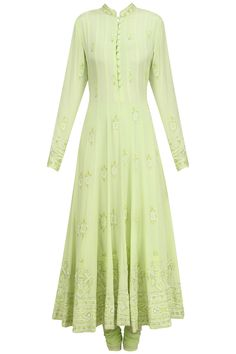Pista green anarkali set with a neat and elegant sequined work on the border Anarkali Dress, Pakistani Dresses, Indian Dresses, Indian Outfits, Desi Clothes, Indian Clothes, Indian Attire, Indian Wear, Stylish Dresses For Girls
