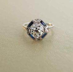 Antique Engagement Ring - White Gold with 2 ct European Cut Diamond. The diamond in my ring is the same cut. But only carat haha Bijoux Art Deco, Art Deco Jewelry, Art Deco Ring, Art Deco Diamond Rings, Jewelry Crafts, Fine Jewelry, Elegant Engagement Rings, Antique Engagement Rings, Art Deco Engagement Rings