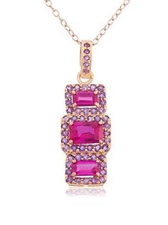 Diamante 14K Rose Gold-Plated Sterling Silver Ruby & Amethyst Triple Window Pendant