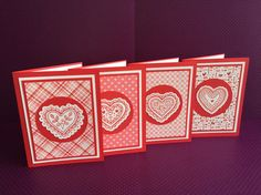 Set of 4 Heart Note Cards by DebsCardStudio on Etsy