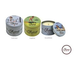 Shine Candles Premium Soy Scented Candles Spring is here Trio FreshLinen ,Grapefruit, OceanBreeze (6.2 oz each) by shine Candles. $44.95. Earth friendly , responsibly packaged in the USA.; Custom collectable tin delightfully designed in a retro motif; Refreshing,empowering spring summer scents; Finest soy Coconut Plam blend crafted to ultimetly emit the 12% essence ,born of the highest quality fragrances available; Long lasting burn time of 40 hours. Celebrate the sens...