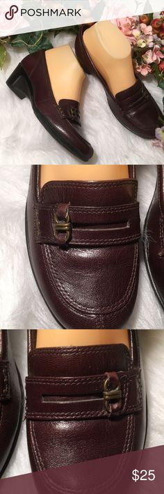 """Clark's Leather Upper 2"""" Semi Wedge Loafer Style Great pair of comfy Clark's. Lots of padding. Rubber non slip sole. Excellent condition and comes from my non smoking home Clarks Shoes"""