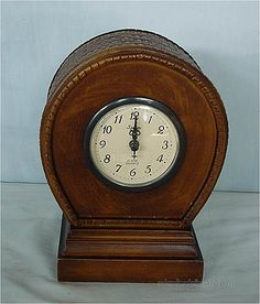 Intricately carved basket weave pattern on top. Old Watches, Pocket Watches, Antique Mantel Clocks, Small Clock, Hickory Dickory, Cool Clocks, Tic Toc, Grandfather Clock, Telling Time