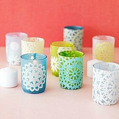 acey doily candle holders