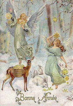 Made In Germany Victorian Style Christmas Keepsake Card Angels Deer Bunnies