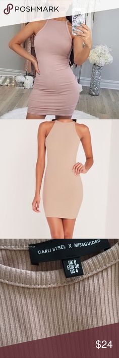 Carli bybel x misguided bodycon dress Size 4 fits true to size. From misguided from the Carli bybel collab. Mauve nude pink color. Worn once. In lovely condition :) Missguided Dresses Mini
