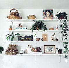 Styling shelves is hard especially getting a stylish yet effortless look. This might look a little too 'orderly' but I'm still pretty happy with it so it'll have to do for now! by losinredning Box Bed, Shelves In Bedroom, Boho Home, White Shelves, Plant Shelves, Apartment Living, Living Room, Decoration, Room Decor