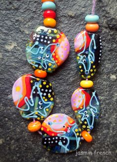 jasmin french ' maneaters ' lampwork bead set sra by jasminfrench