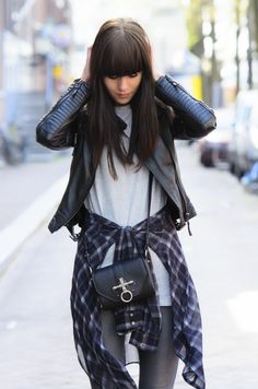 outfit sheer checked shirt leather givenchy obsedia
