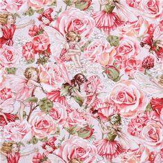 Michael Miller flower fabric Sweet Garden fairies - Flower Fabric - Fabric - kawaii shop modeS4u