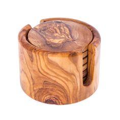 Olive Wood Drink Coasters Set of 6 - Handmade Round Coasters with Round Base Holder Coaster Holder, Coaster Set, Dishwasher Soap, Fabric Gift Bags, Handmade Kitchens, Wooden Coasters, Wood Rounds, Drink Coasters, Handmade Wooden