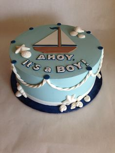 Baby Shower Cake | nautical | baby boy | rope | sailboat | sea | ocean | shells | buttercream