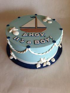 Baby Shower Cake   nautical   baby boy   rope   sailboat   sea   ocean   shells   buttercream