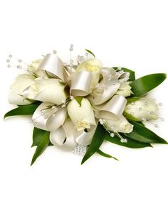 Deluxe White Sweetheart Rose Wrist Corsage, Satin Ribbon w/ Pearls - Carithers Flowers: Best Florist Atlanta, Unique Arrangements