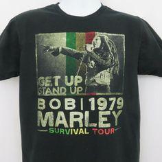 f007d3cb0 Bob Marley 1979 Survival Tour Black T Shirt Mens Large SS 100% Cotton #Zion