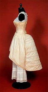 So, whats underneath it all? This: undergarments, including bustle, c. 1884-1890