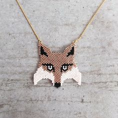 Japanese Miyuki beads necklace, Fox head, original pattern, 24k gold plated…
