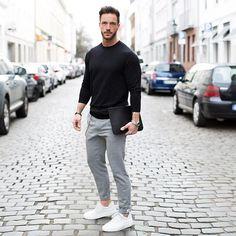 New Ideas Moda Masculina Casual Fashion Street Styles Mens Fashion Blog, Sport Fashion, Men's Fashion, Mens Fashion Outfits, Mens Office Fashion, Fashion Black, Fasion, Sport Outfits, Casual Outfits