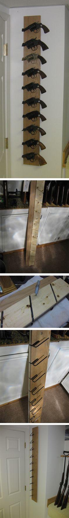 Using Gun Storage Solutions Back-Under Handgun Hangers, this customer created a vertical gun rack to store his pistols.