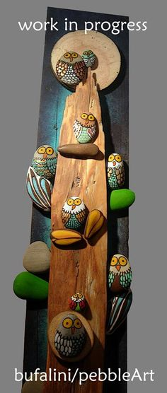 Owl painted rocks.