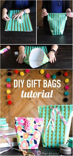 This is genius. Learn how to make a gift bag from wrapping paper. These are SO cute and are so much less expensive than store-bought gift bags. So excited about this DIY gift bag option!