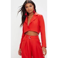 Red Cropped Blazer (£30) ❤ liked on Polyvore featuring outerwear, jackets, blazers, red, red blazers, cropped blazer, cropped jacket, blazer jacket and red cropped blazer