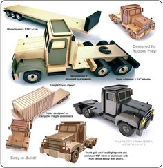 Iraq-Afghan Military Freighliner Wood Toy Plan Set