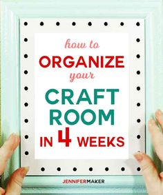 How you CAN organize your entire craft room in 4 weeks with tips tricks ideas and tutorials declutter your craft space organize craft tools and supplies Sewing Room Storage, Craft Room Storage, Sewing Rooms, Sewing Spaces, Paper Storage, Craft Room Organisation, Scrapbook Organization, Space Crafts, Craft Space