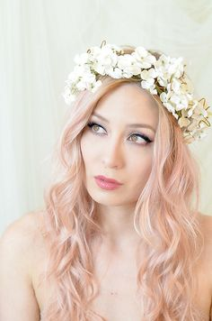 Flower crown, wedding headpiece, floral headband, ivory hydrangea crown, bridal hair accessory | by Bellafaye Garden