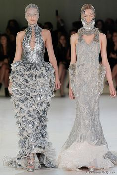 Most Extreme Wedding Dresses | Dress with pearlescent scales/feathers, gown with bodice constructed ...