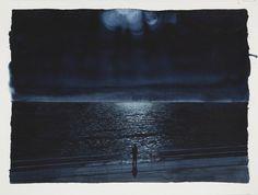 Tim Gardner Figure watching the moon Watercolor