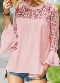 Pink Flare Sleeve Lace Panel Round Neck Blouse | liligal.com - USD $27.58