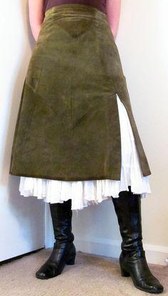 green suede skirt, petti & boots. Roll on Winter.