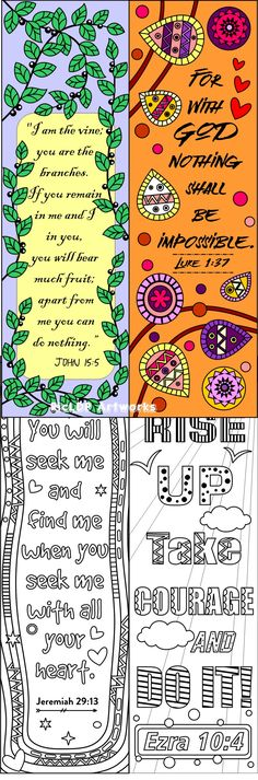Printable Colouring Bookmarks With Quotes Coloring