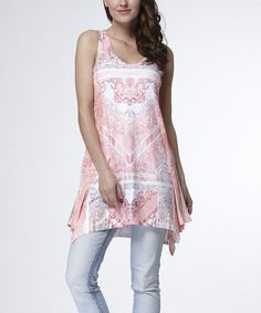 Look at this #zulilyfind! Pink Scarf Print Handkerchief Tunic - Women by Simply Couture #zulilyfinds