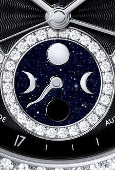 The Chanel J12 Moonphase indicates the phase of the moon on a sparkling midnight blue aventurine disc, which