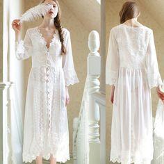 Eropa Gaya Istana Baru Keindahan Indah Sexy Baju Tidur Panjang Putih Renda Gaun Tidur Cocok Untuk Semua Wanita