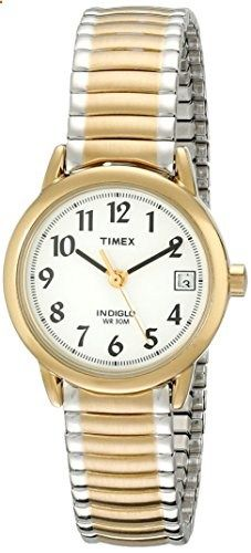 Timex Women's T2H381 Easy Reader Two-Tone Expansion Band Watch. Go to the website to read more description.