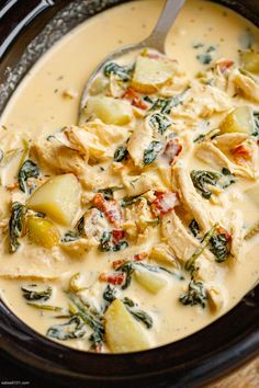 Slow Cooker Creamy Chicken Soup with Potatoes - - This slow cooker chicken soup is absolutely loaded with flavors and so easy to make! Slow Cooker Chicken Potatoes, Chicken Potato Soup, Slow Cooker Potato Soup, Slow Cooker Creamy Chicken, Stewed Potatoes, Chicken Soup Recipes, Chicken Soups, Chicken Cooker, Chicken Broccoli