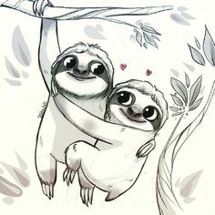 Learn to draw animals drawing animal & creatures ленивцы, ид Cute Baby Sloths, Cute Sloth, Cute Drawings, Animal Drawings, Drawing Animals, Sloth Drawing, Sloth Tattoo, Arte Disney, Illustration