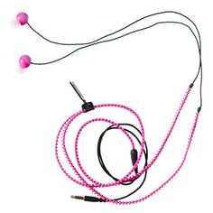 pink earbudz zipper headphones