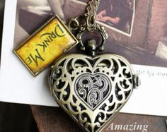 Hot Style Alice in Wonderland DRINK ME Pocket Watch ,Antique Heart Shape Glitter Fashion Pocket Watch Necklace JYY046
