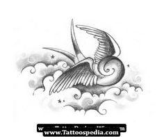 swallow tattoo - cloud shading/ filler