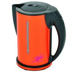 Waterkoker RVS dubbelwandig oranje! 1,5 liter - 2200W