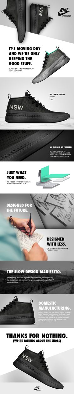 layout allows for various views of product in a high-energy way // Nike AVANTI by Matt DEALMEIDA Site Web Design, Web Design Mobile, Web Mobile, Ux Design, Layout Design, Brand Design, Webdesign Inspiration, Email Design Inspiration, Interface Web