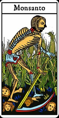 Le  populaire, 26/03/2013 ,cette image est un portrait, il ya des couleurs primaire tel que : bleue  jaune vert rouge, l'image est assez sombre, cette photo est une carte de tarot. Il représente la mort c'est la faucheuse qui prend la vie des gens à cause des produits de l'usine Monsanto. La prise de vue de l'image est à hauteur d'œil et le plan est  général. L'image critique l'usine Monsanto car il y a des OGM dans les produits Monsanto.
